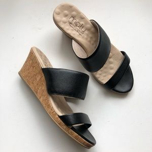 Malu Super Comfort Black Leather and Cork Wedges